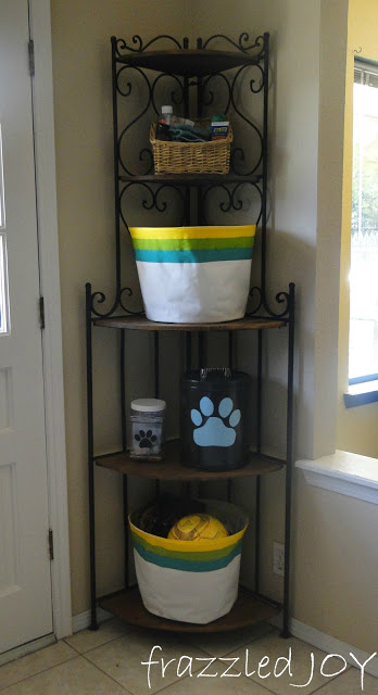 Corner shelf storage for backyard supplies