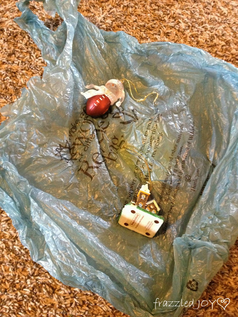Use plastic bags to wrap more fragile ornaments