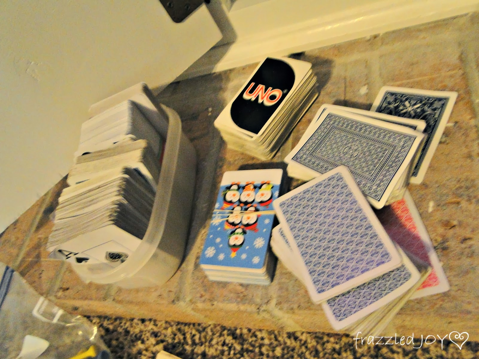 organizing playing cards