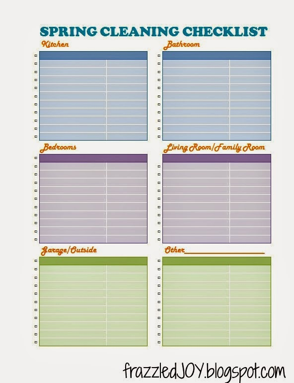 Blank spring cleaning checklist printable