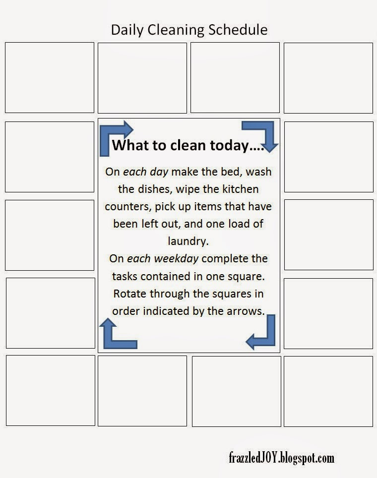 daily cleaning schedule semi-blank printable