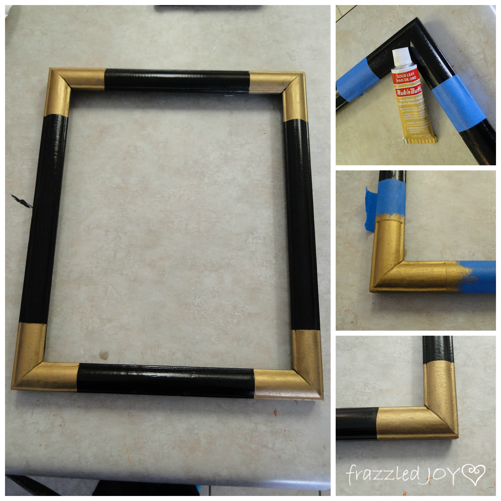 thrifted frames updated with gold rub n buff corners