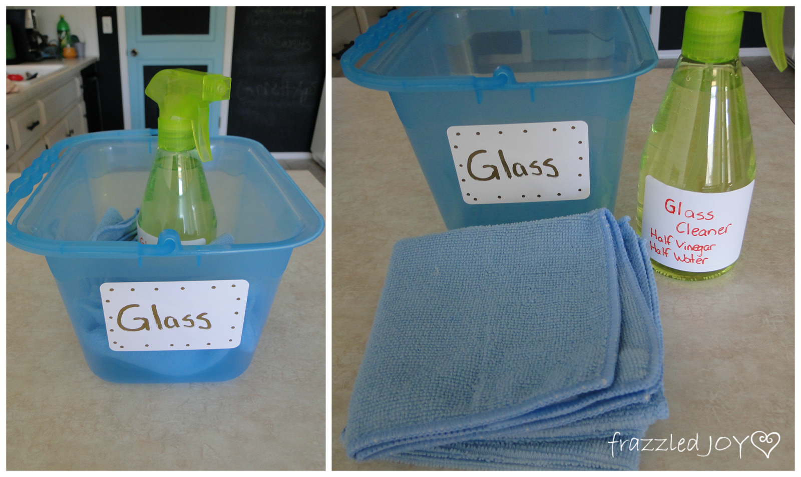 glass cleaner and supplies stored together