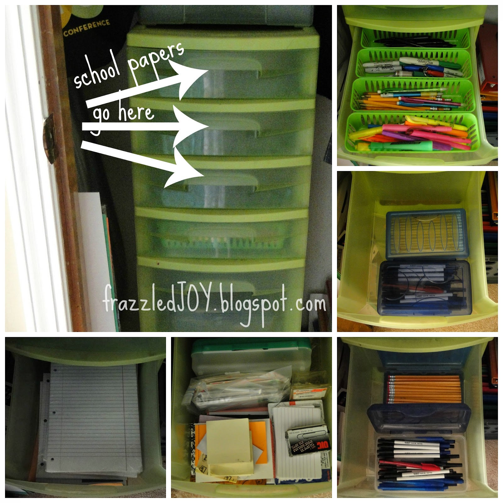 Use a tall plastic drawer unit to store various school/office supplies and keep them organized.