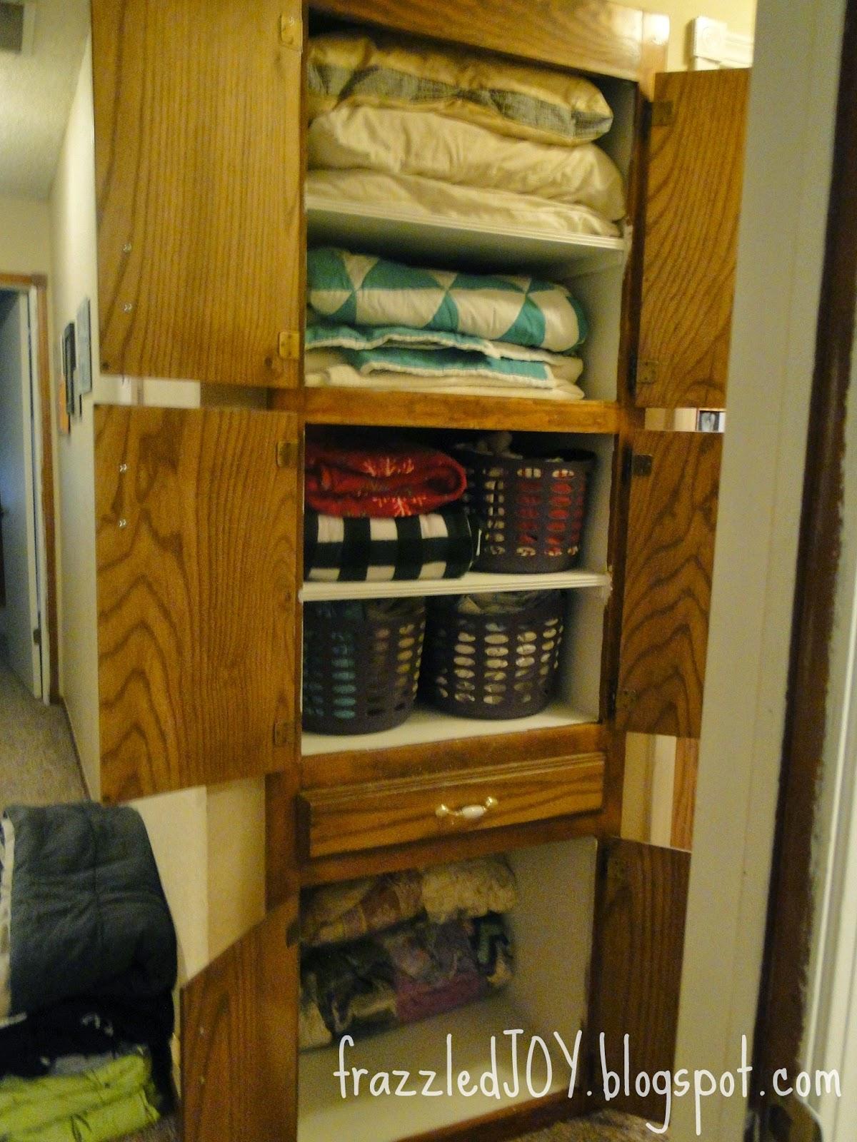 Linen closet organized