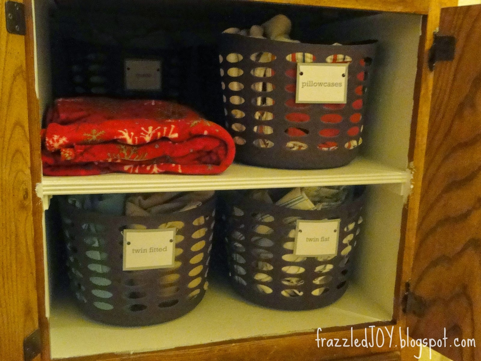 Label baskets and bins to help keep things in place.