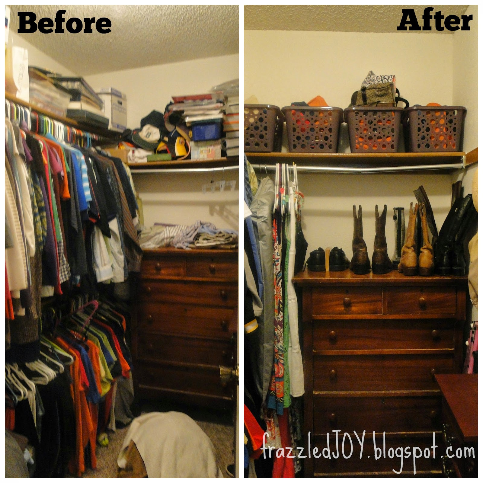 Before and after closet clean up.