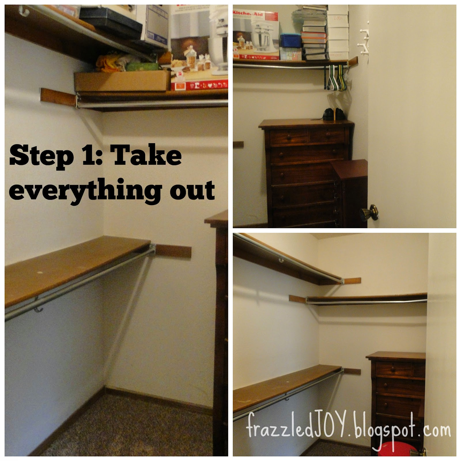 cleaning out a small walk-in closet