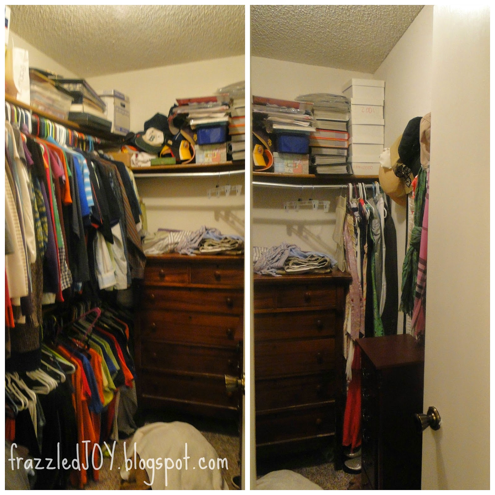 cramped walk-in closet
