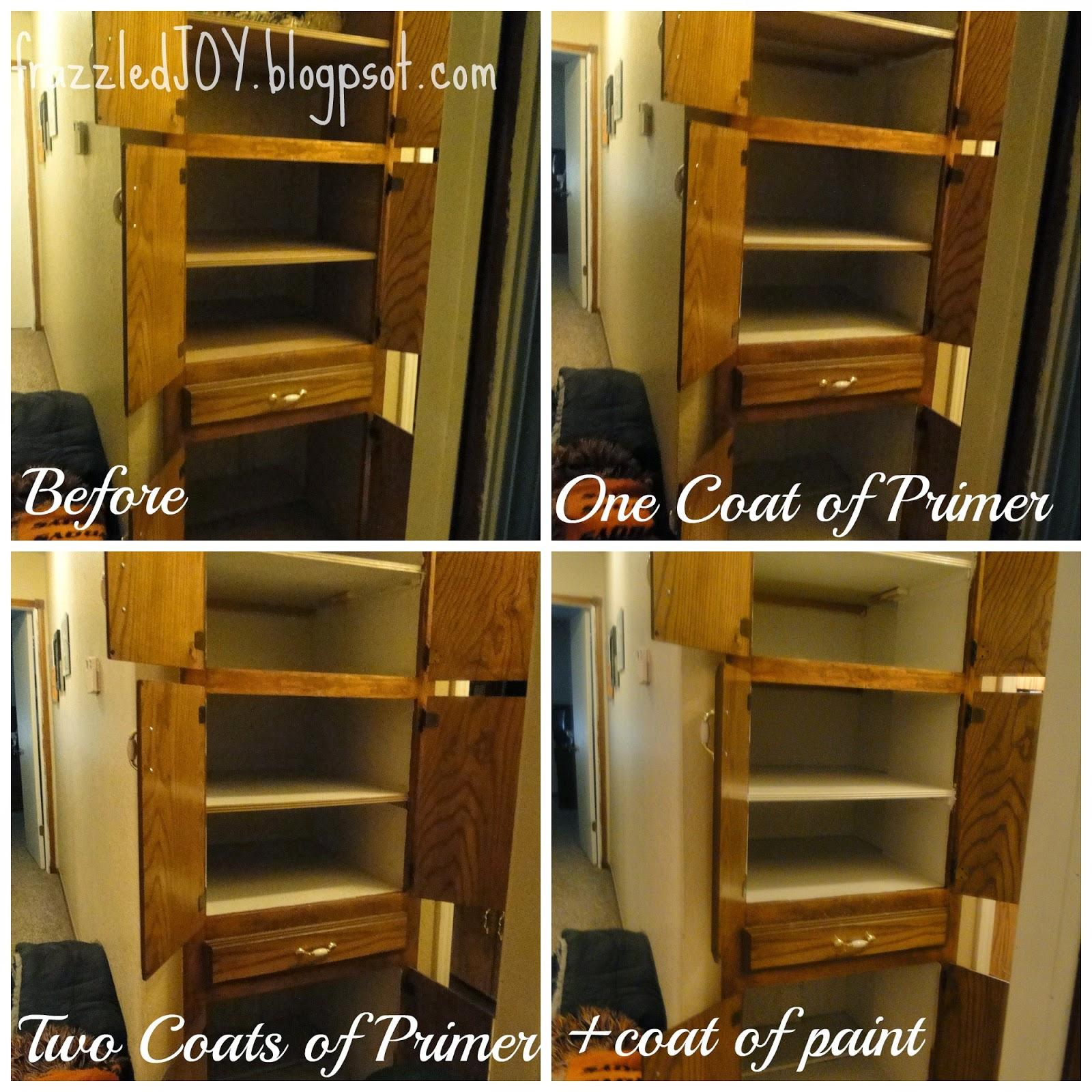 Use white paint on the inside of cabinets to make the space brighter.