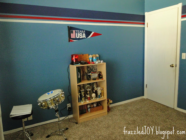 red white and blue striped wall