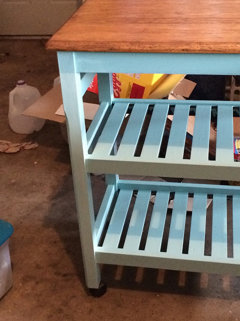turquoise kitchen cart