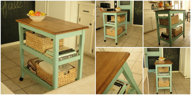 butcher block kitchen cart turned kitchen island