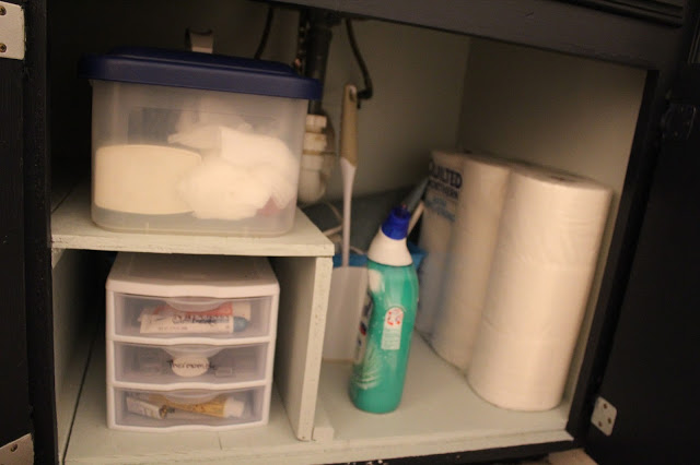 under cabinet storage and organization for the bathroom
