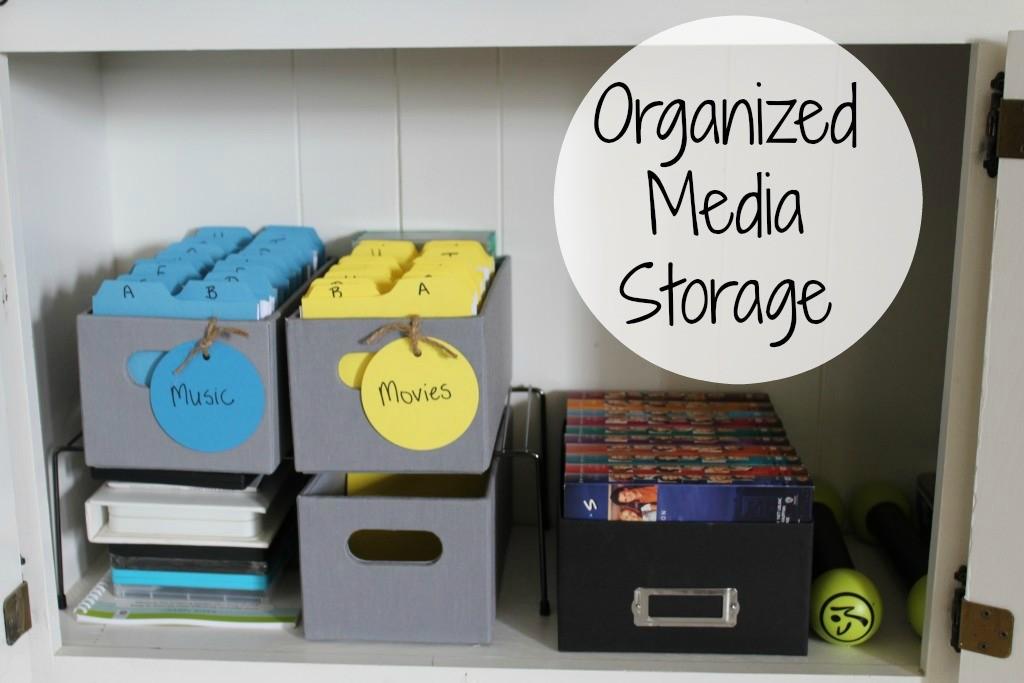 Organized media storage cabinet
