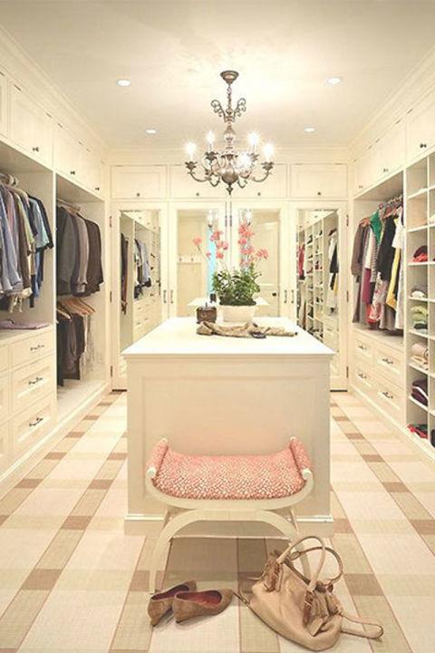 white closet - chandelier