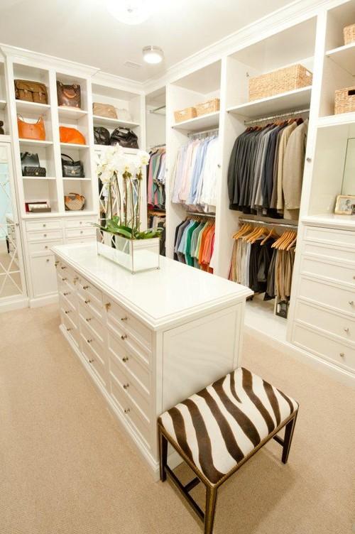 white closet - zebra bench