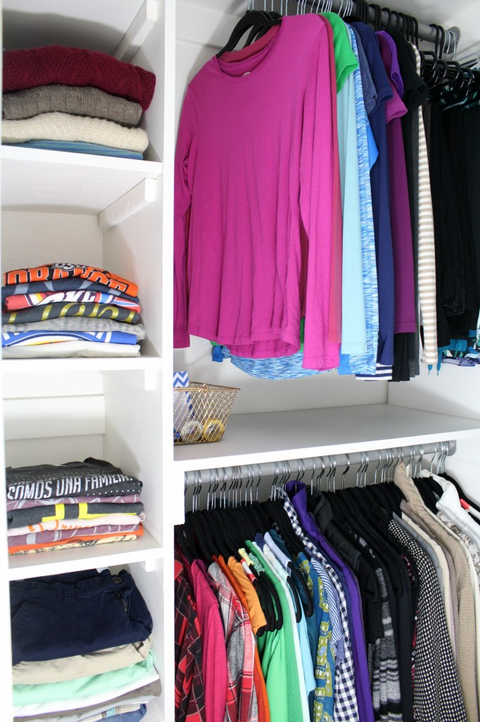 DIY shelves for folded storage in a walk-in closet