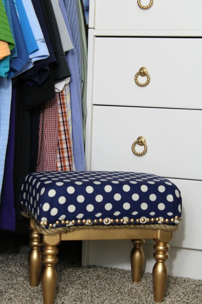 upholstered stool for closet makeover