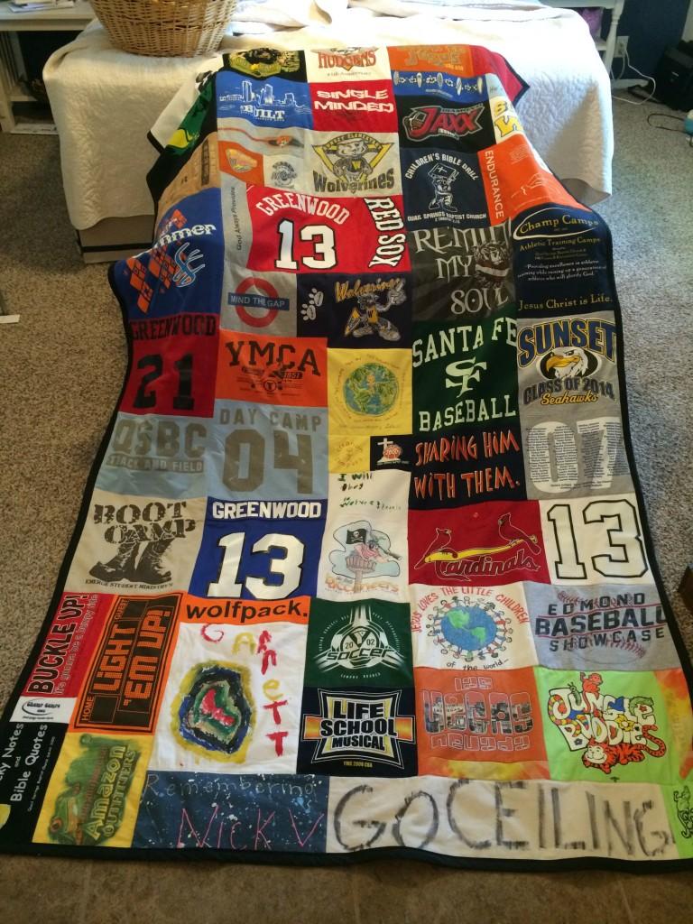 random pattern tshirt quilt