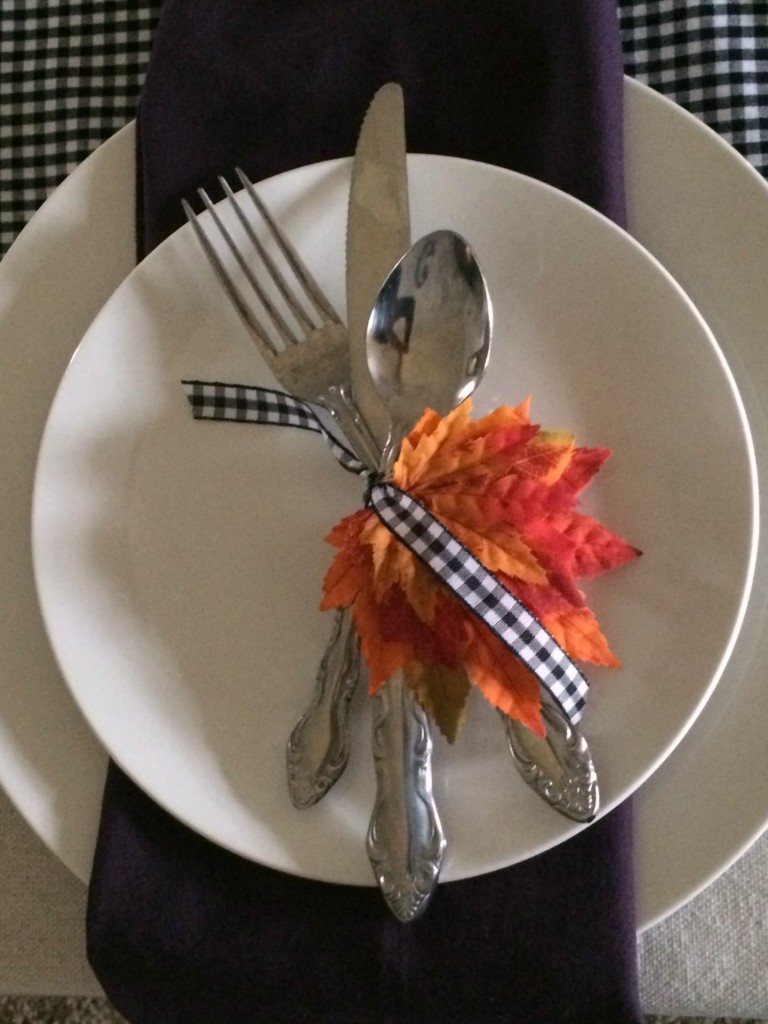 fall place setting with purple