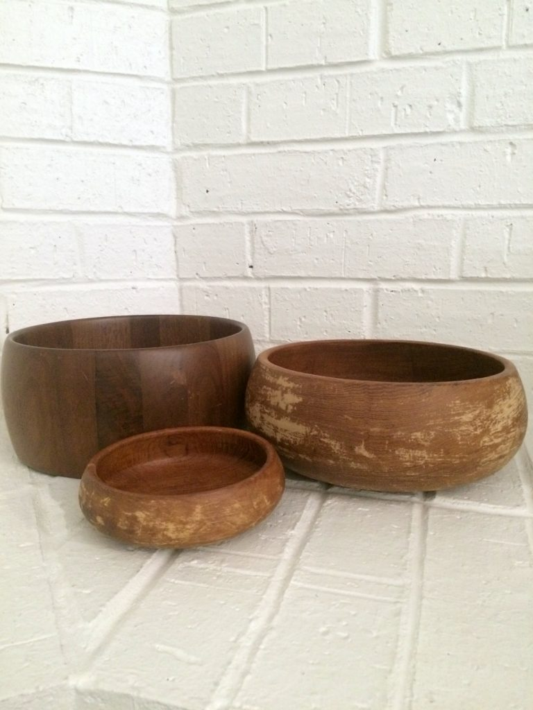 thrifted wood bowls