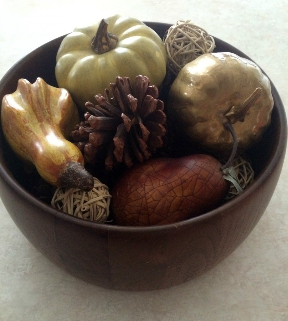 wooden bowl with fall gourds