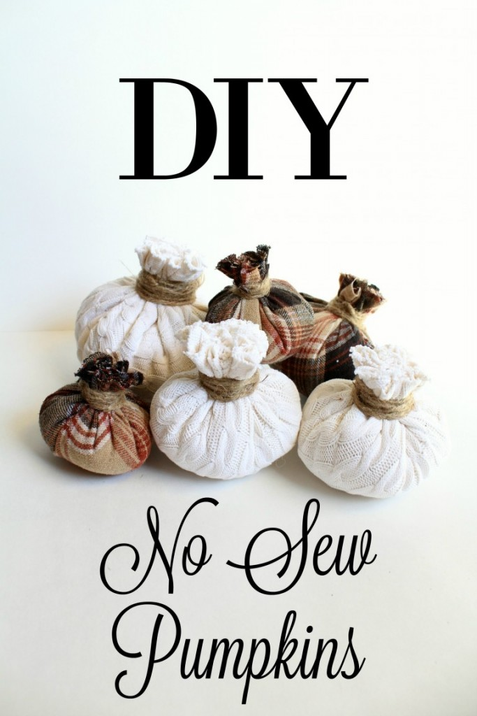 Make these cute pumpkins with fabric and twine - no sewing required!