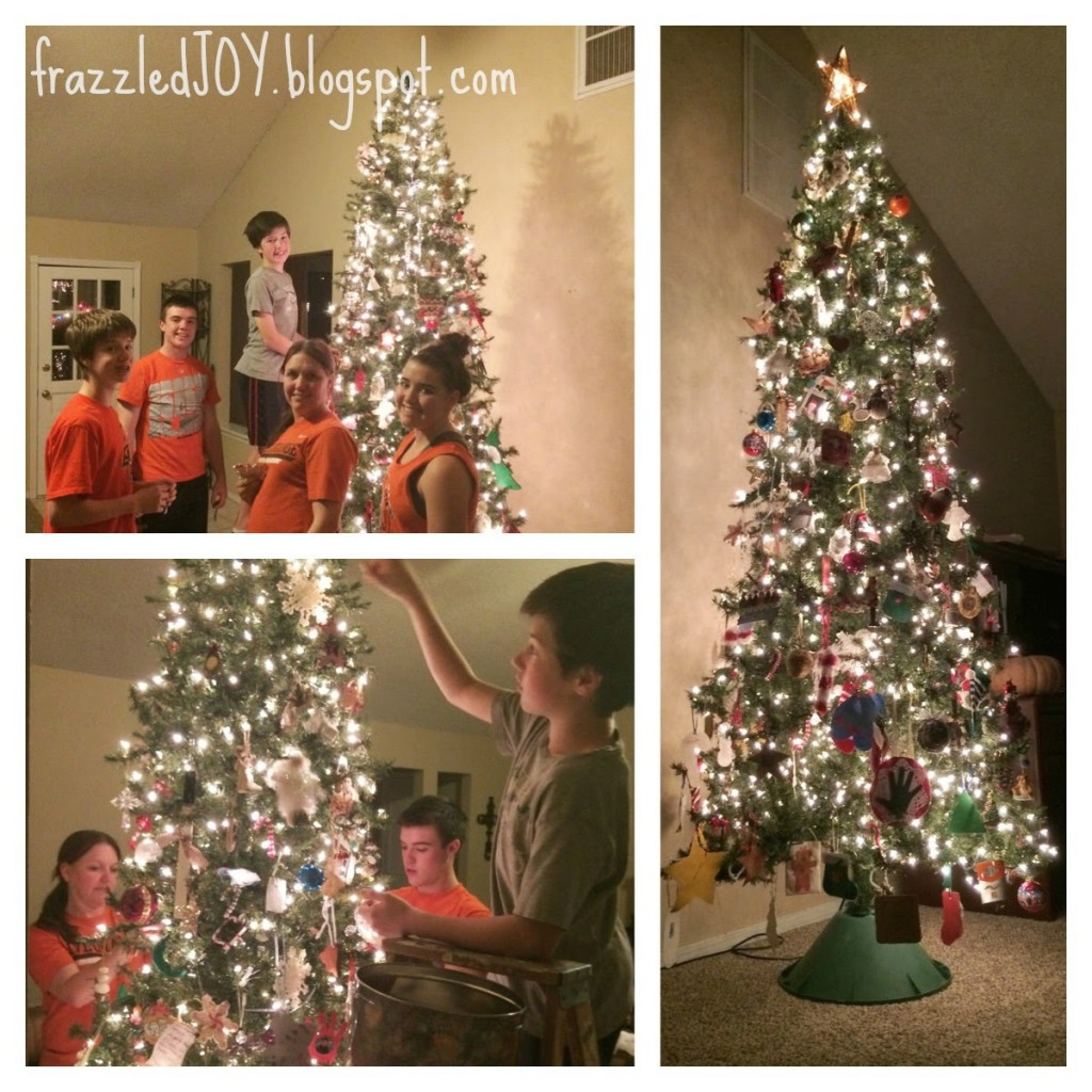 Decorating the Christmas tree is a family event and a fun tradition
