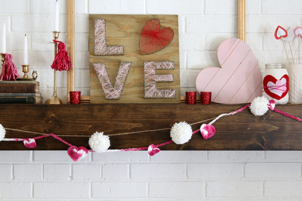 LOVE string art looks great on this Valentine's Day mantel!
