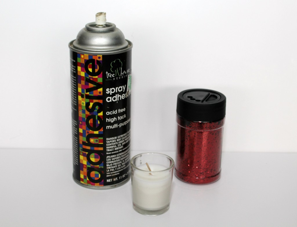 Supplies for DIY glittered candle holders.