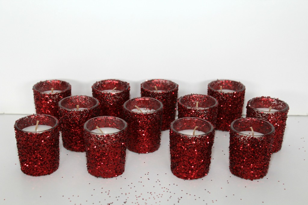 DIY glittered candles for Valentines Day.
