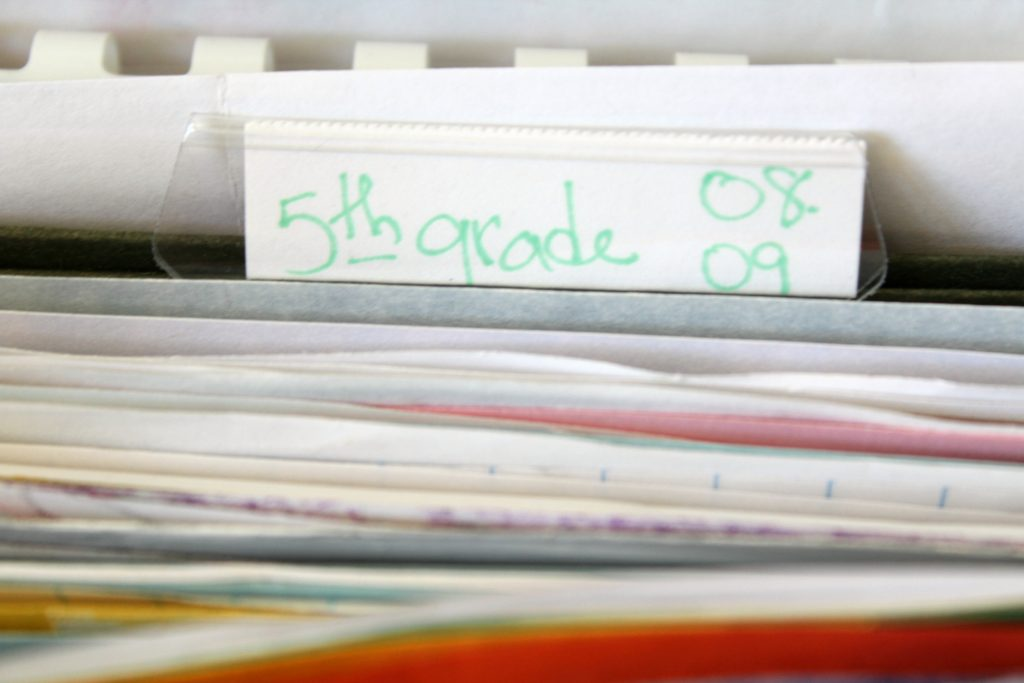 Label file folder with grade and year to make sorting easier