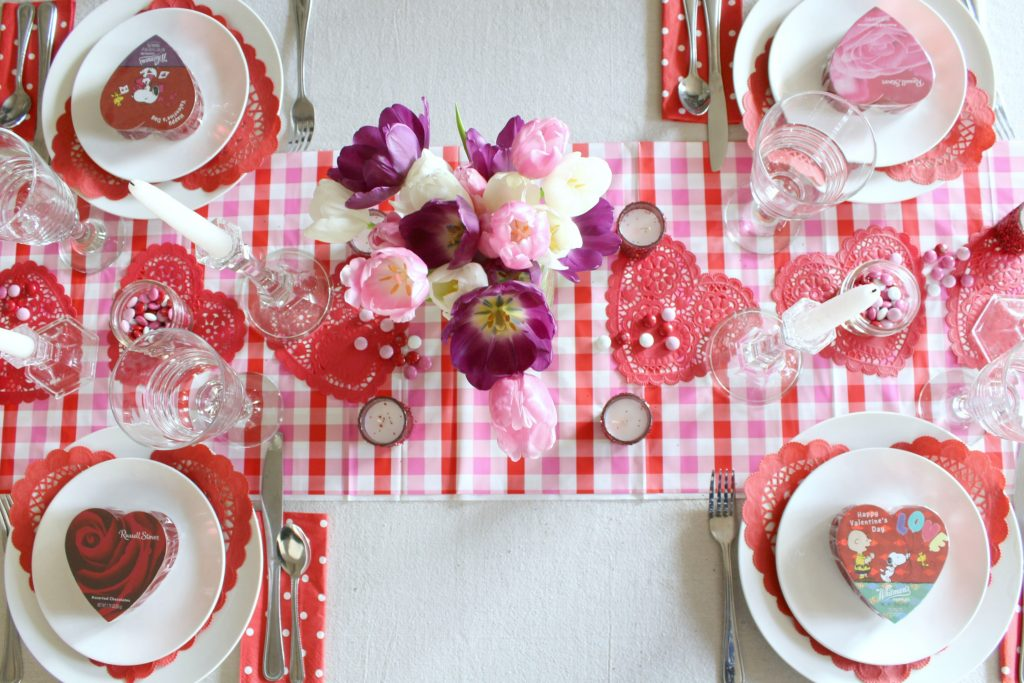 Gingham, polka dots, and tulips for Valentine's day