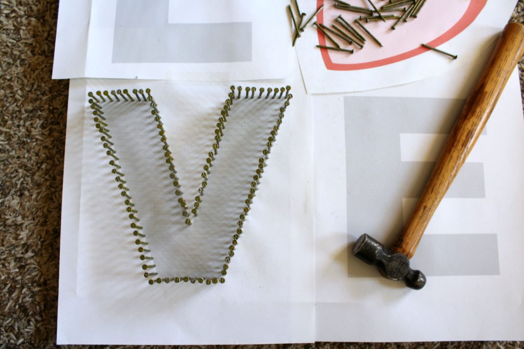 Nail around template for string art