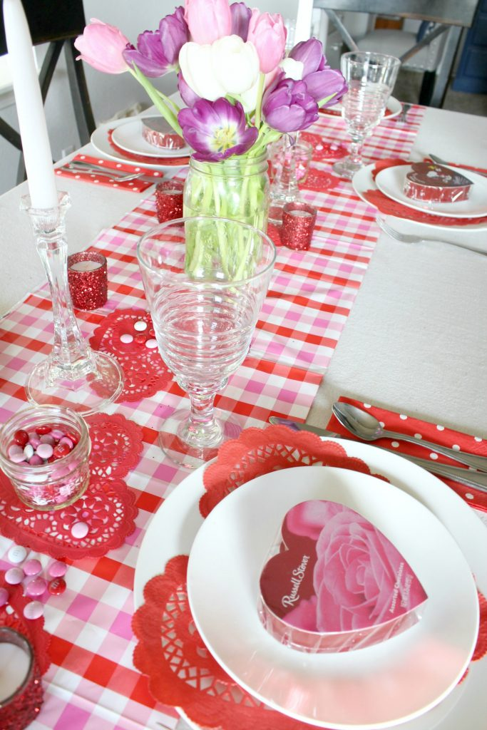 Hearts and tulips Valentine's day tablescape