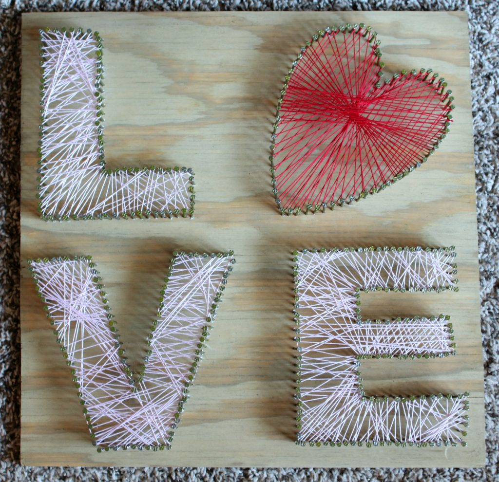 DIY LOVE string art project