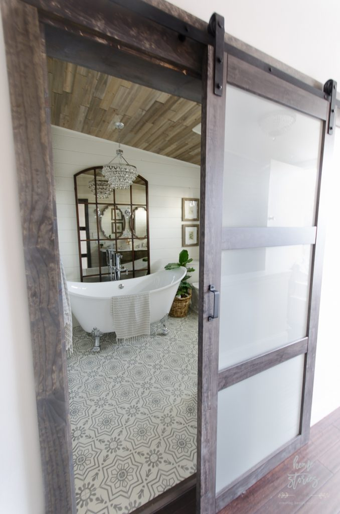 Urban farmhouse master bathroom from Home Stories A to Z