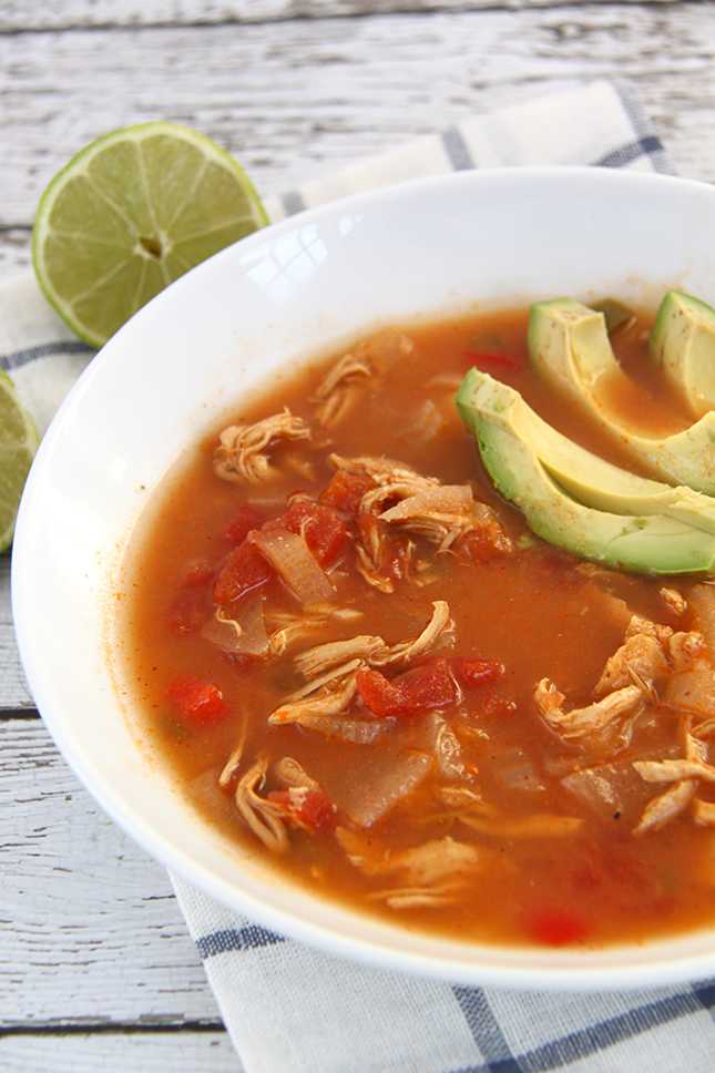 slow cooker chicken tortilla soup from Smashed Peas and Carrots