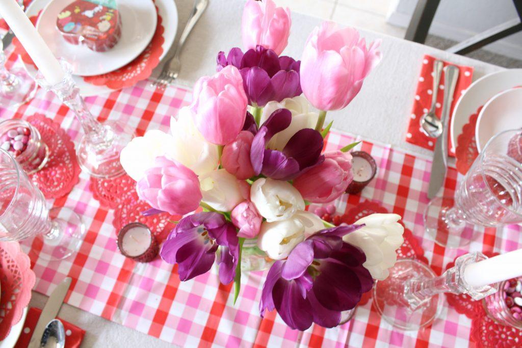 Tulip Valentine's Day table centerpiece