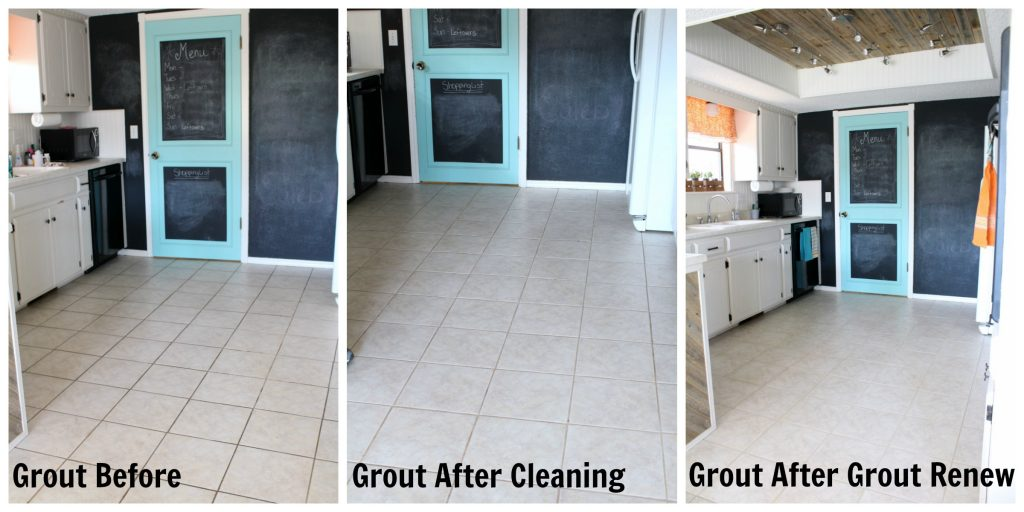 Progression of renewing grout on a tile floor