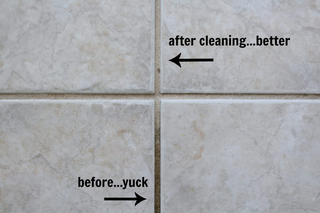 before and after cleaning grout