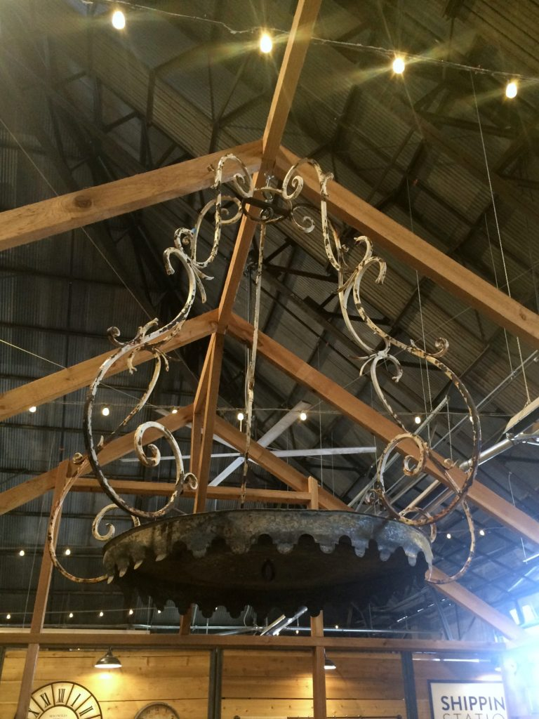 iron chandelier at Magnolia Market