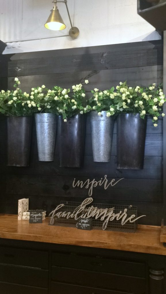 metal bucket floral display at Magnolia Market