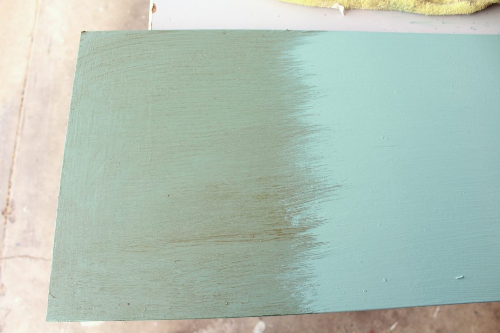 deep brown creme wax over DIY chalk paint