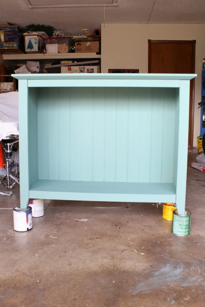 bookshelf painted with DIY chalk paint