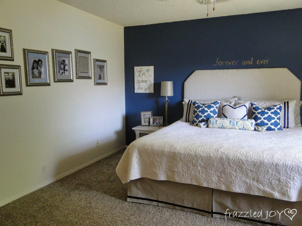 master bedroom navy and white