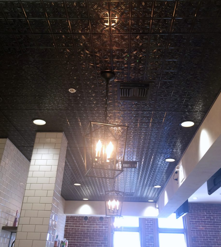 black tin ceiling at the Pioneer Woman Mercantile