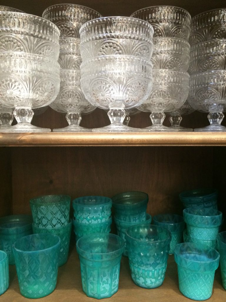 Cut glass dishes at the Pioneer Woman Mercantile