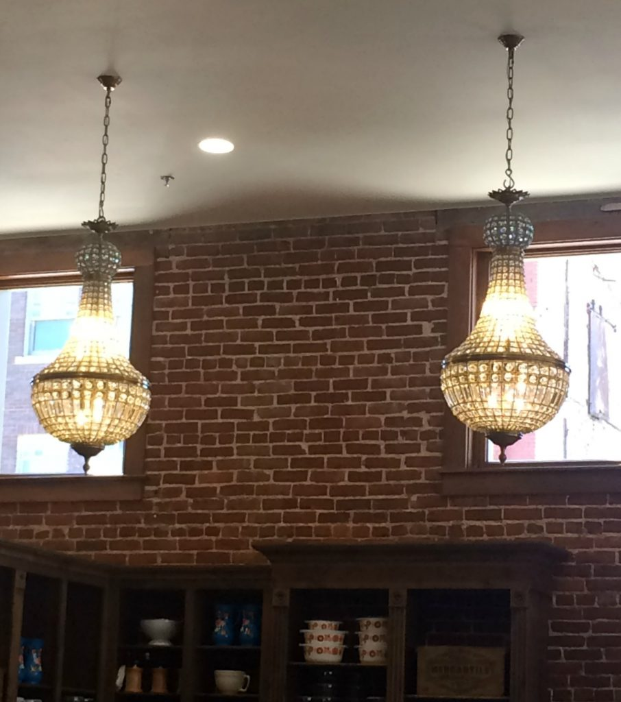 Beautiful chandeliers at the Pioneer Woman Mercantile